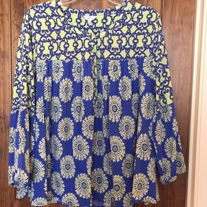 Crown and Ivy royal and lime peasant top XL